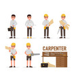 carpenter joiner foreman engineer and vector image