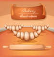 cartoon bakery croissant rolling vector image