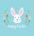Cartoon easter greeting card with white rabbit
