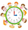 children on clock template vector image vector image