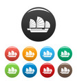 china ship icons set color vector image