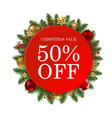 christmas sale banner with balls vector image vector image