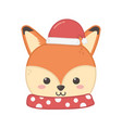 cute fox head with hat merry christmas vector image