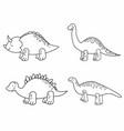cute set cartoon line dinosaurs for children vector image