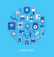 dental clinic round concept banner in colored line vector image vector image