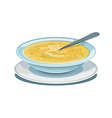 Dinner plate with soup vector image vector image