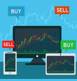 forex trading japanese candles chart on a laptop vector image vector image