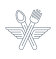 Fork ad spoon crossed with wings icon and logo vector image
