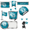 glossy icons with flag of seattle vector image vector image