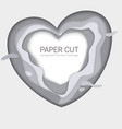 gray paper-cut heart shape monochrome multi vector image vector image