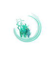 green organic bamboo plant ecology round label vector image