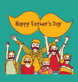 happy fathers day group children moustache sign vector image vector image