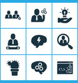job icons set with chief search for workers vector image