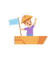 little boy playing sailor with boat made of vector image vector image