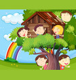 many children playing on treehouse vector image vector image