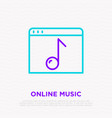 music online thin line icon web page with note vector image vector image