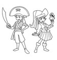 pirate kids line art vector image vector image