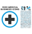 Plus Icon with 1000 Medical Business Pictograms vector image vector image