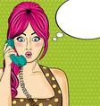 Pop art woman chatting on retro phone Comic woman vector image vector image