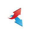 red and blue 3d shiny arrows on white background vector image