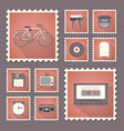retro style set flat stamps with shadow vector image vector image