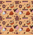 seamless pattern 1 of sweet pastries cupcake vector image