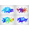 set of abstract facet 3d shapes geometric vector image vector image