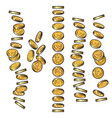set of gold coins falling in different perspective vector image