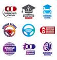 set of logos driving school car vector image