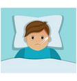 sick man tired with a virus with a thermometer vector image vector image