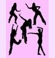 silhouette of happy woman dancing zumba vector image vector image