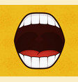 smile pop art style on yellow background vector image vector image