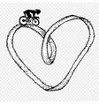 sportsman ride cycle on heart infinity symbol vector image
