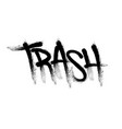 sprayed trash font graffiti with overspray in vector image