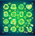 st patrick icons with sparkles vector image vector image
