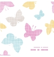 Textile textured colorful butterflies frame corner vector image vector image