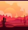 wild mexican desert landscape with cactus plants vector image vector image