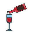 wine bottle pouring into a wineglass thanksgiving vector image