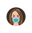 woman in a medical mask vector image vector image