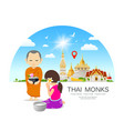 women offering alms to thai monks on thailand vector image