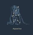 zodiac constellation aquarius in engraving vector image vector image
