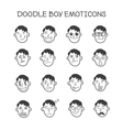 cute doodle boy heads set Emoticons vector image