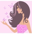cute girl with butterflies vector image