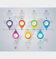 timeline infographics design with 7 step vector image