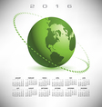 2016 calendar green globe dotted vector image vector image