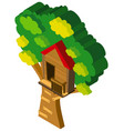 3d design for treehouse on the tree vector image vector image