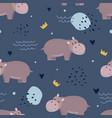 adorable hippopotamus seamless pattern vector image