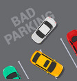 bad parking car top view wrong parking area vector image