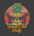 beach club party skull pineapple vector image vector image