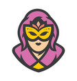 beautiful girl in a carnival mask sign vector image